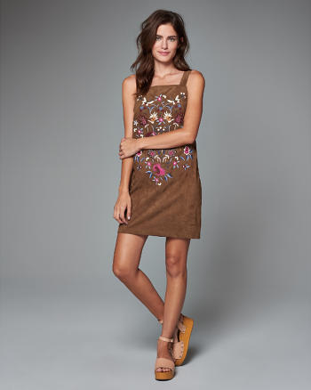 ANF Embroidered Faux Suede Shift Dress