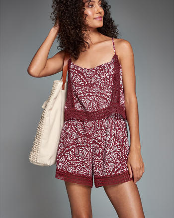 ANF Lace-Trim Overlay Romper