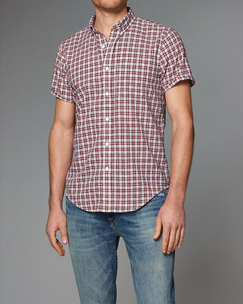 ANF Plaid Madras Short-Sleeve Shirt