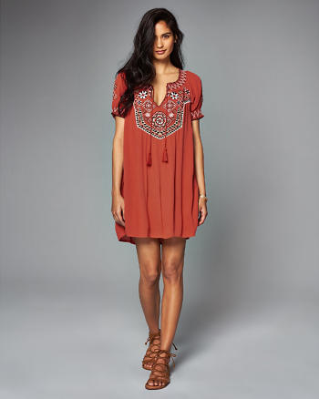 ANF Embroidered Peasant Dress
