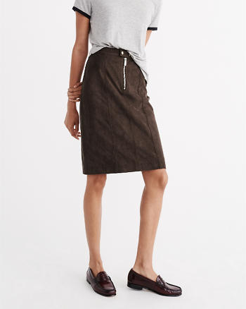 ANF Faux Suede Midi Skirt