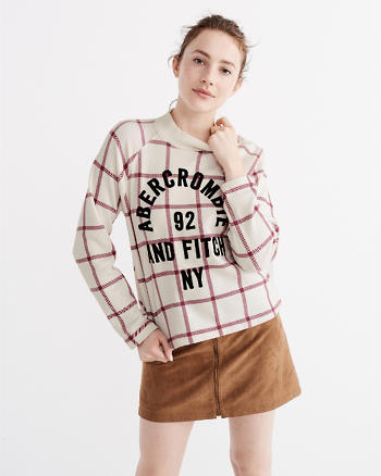 ANF Plaid Mock Neck Sweatshirt