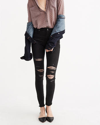 ANF High Rise Ripped Super Skinny Jeans