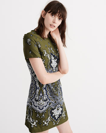 ANF Printed Crepe T-Shirt Dress