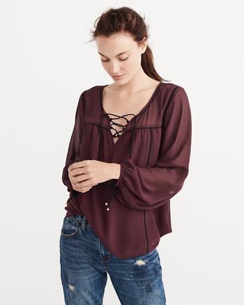 ANF Lace-Up Peasant Top