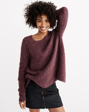ANF Boucle Split-Back Pullover Sweater