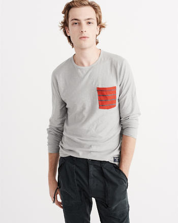 ANF Long-Sleeve Striped Pocket Tee
