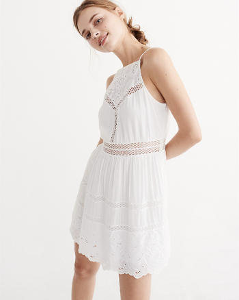 ANF Lace Yoke Trapeze Dress