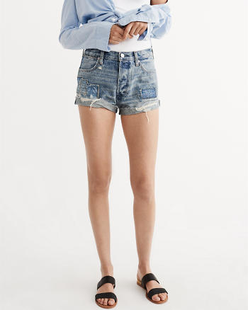 ANF High Rise Tonal Patch Shorts