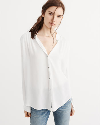 ANF Ruffle Neck Shirt