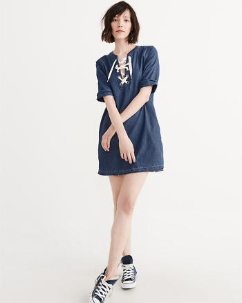 ANF Lace-Up Denim Dress
