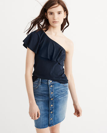 ANF One-Shoulder Ruffle Top