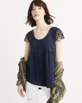 ANF Lace Sleeve Top