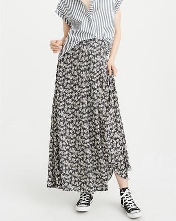 ANF Pattern Wrap Maxi Skirt