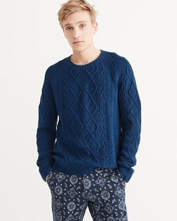 ANF Garment Dye Cable Crew Sweater
