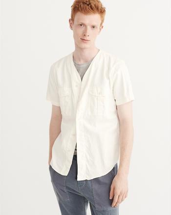 ANF Linen-Blend Baseball Shirt