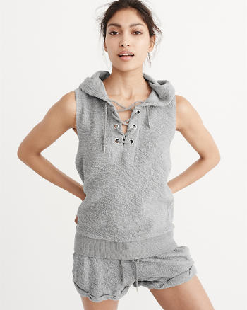 ANF Sleeveless Lace-Up Hoodie