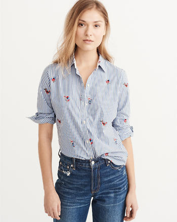 ANF Embroidered Poplin Shirt
