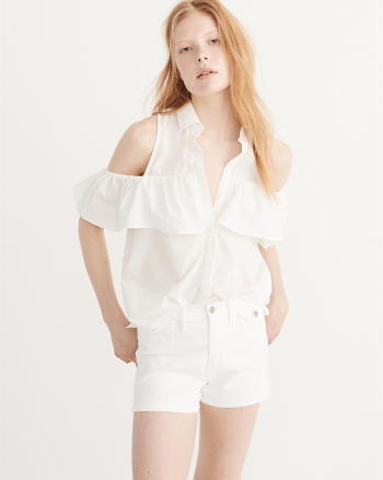 ANF Cold-Shoulder Poplin Shirt