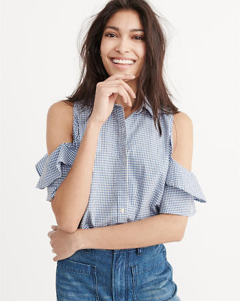 ANF Cold-Shoulder Ruffle Top
