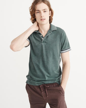 ANF Burnout Tipped Cuff Polo