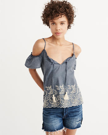 ANF Eyelet Cold-Shoulder Top