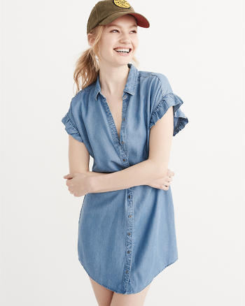 ANF Ruffle Sleeve Chambray Dress