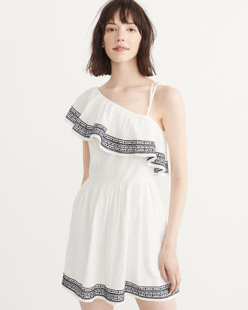 ANF Embroidered One-Shoulder Dress