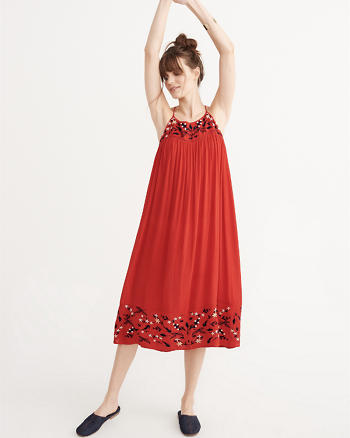 ANF Embroidered Midi Dress