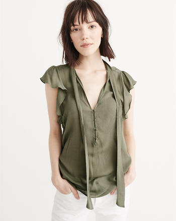 ANF Ruffle Sleeve Top