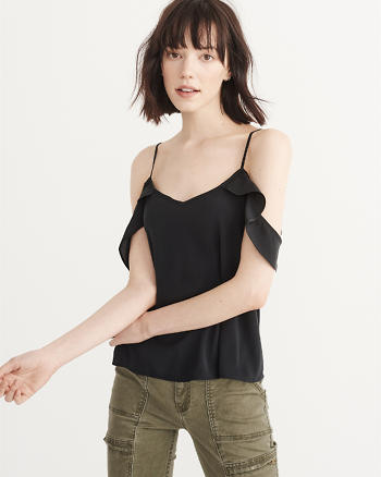 ANF Woven Cold-Shoulder Top