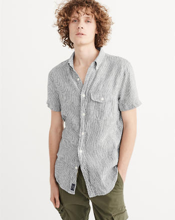ANF Short Sleeve Linen Shirt