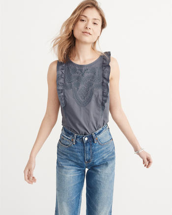 ANF Embroidered Ruffle Shell