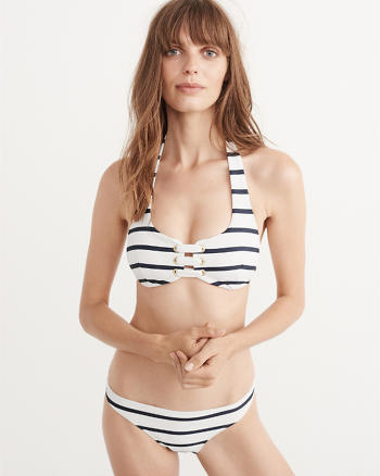 ANF Striped Grommet Halter Top