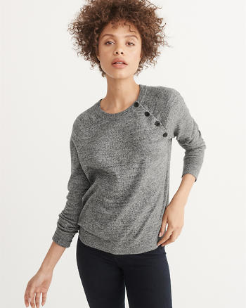 ANF Button Crewneck Sweater