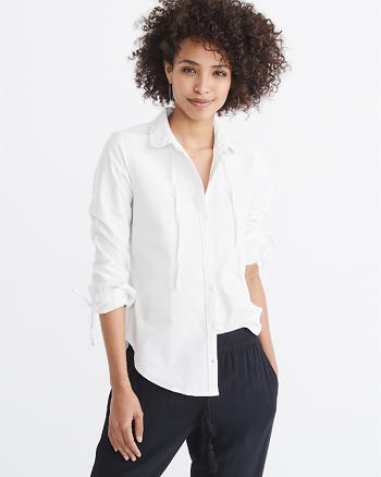 ANF Tie-Neck Oxford Shirt