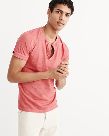 ANF Short Sleeve Garment Dye Henley