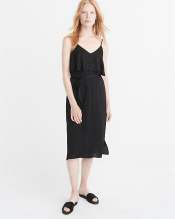 ANF Ruffle Tie-Waist Midi Dress