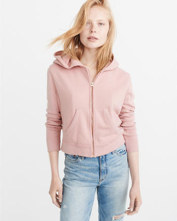 ANF Cropped Zip-Up Hoodie