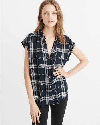 ANF Short-Sleeve Plaid Shirt