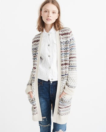 ANF Long Patterned Cardigan