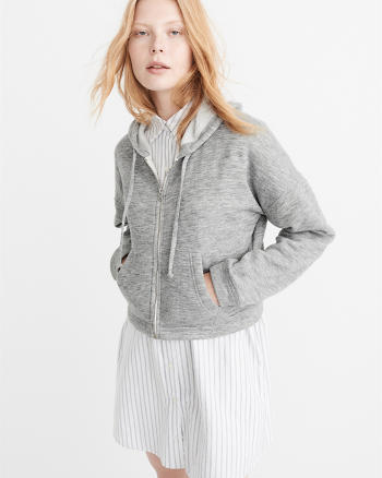 ANF Cushy Knit Cropped Hoodie