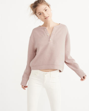 ANF Cushy Knit Henley Pullover