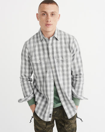 ANF Snap-Front Flannel Shirt