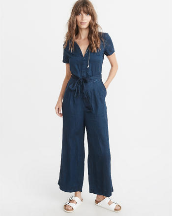 ANF Short-Sleeve Denim Jumpsuit