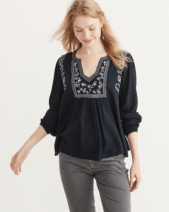 ANF Embroidered Peasant Top