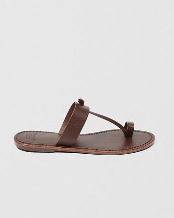 ANF Leather T-Strap Sandals