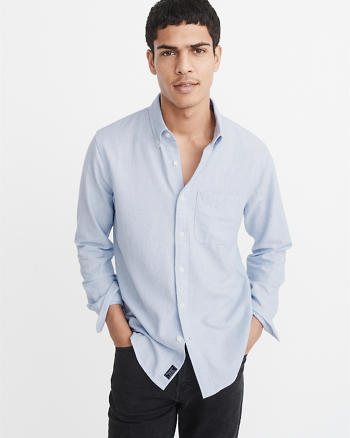 ANF Heathered Oxford Shirt