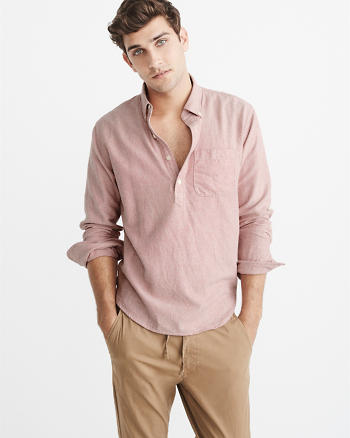 ANF Heathered Popover Oxford Shirt