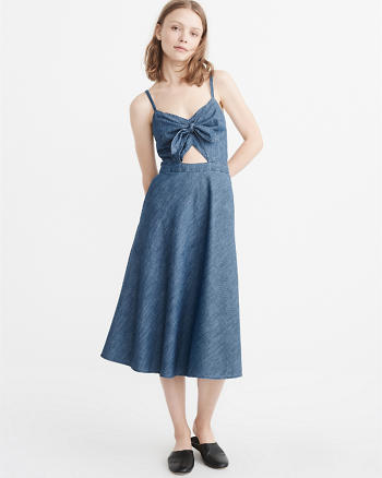 ANF Knot-Front Denim Dress